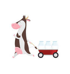 lovely cow pulling cart with glass bottles milk vector image