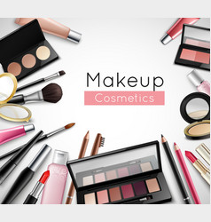 Makeup Cosmetics Accessories Realistic Composition vector