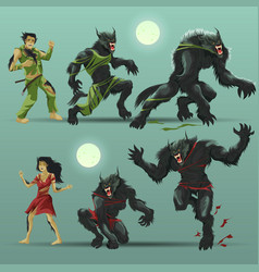 man and woman werewolf set vector image