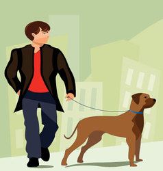 Man-walking-his-dog vector image