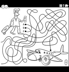 Maze with cartoon man and airplane coloring book vector