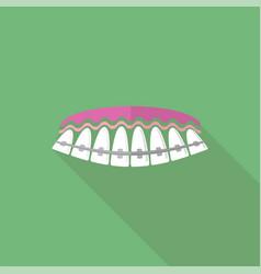 Medical braces teeth dental care background vector