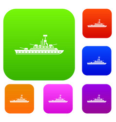 Military warship set collection vector