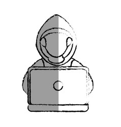 Monochrome blurred contour with hacker faceless vector