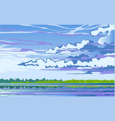morning landscape stylized with river vector image