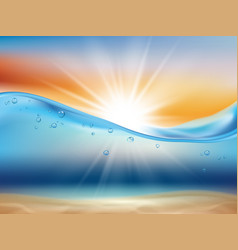 Ocean wave background with sun water landscape vector
