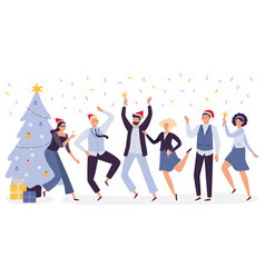 office christmas celebration happy business team vector image
