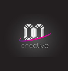 oq o q letter logo with lines design and purple vector image