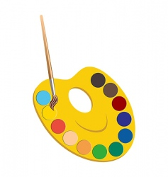 Palette with paints vector