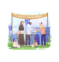 People distribute sacrificial meat on eid al adha vector