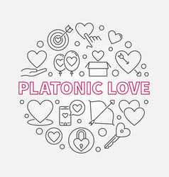platonic love round in thin vector image
