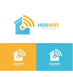 real estate and wifi logo combination vector image
