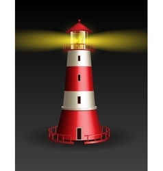 Red lighthouse on black background vector