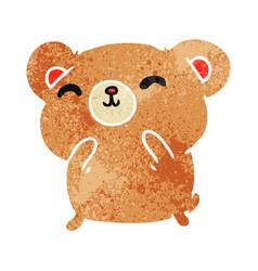 Retro cartoon kawaii cute happy hamster vector