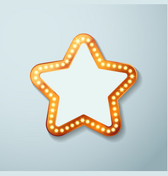 Retro cinema bulb sign star shape vector image