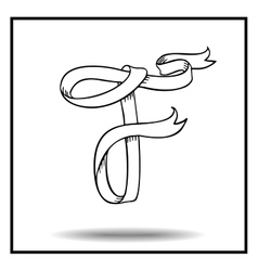 Ribbon sketch alphabet vector image