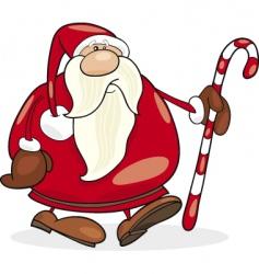 Santa Claus with Christmas cane vector
