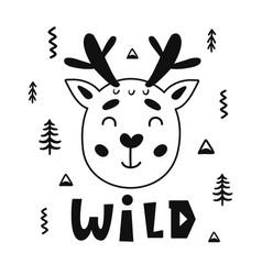 scandinavian childish poster cute animal vector image