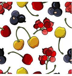 Seamless pattern berries cherries currants v vector