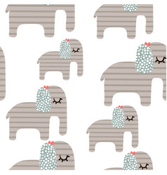 seamless pattern with cute srtipes elephant vector image