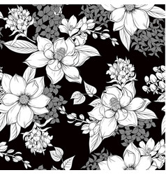 Seamless pattern with monochrome graphic flowers vector