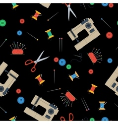 Seamless Pattern with sewing equipment on black vector image