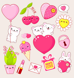 set cute valentines day icons in kawaii style vector image