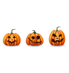 Set halloween pumpkins with funny faces on vector