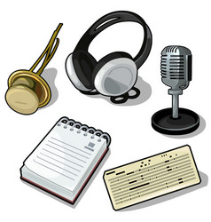 set headphones microphone notes and other vector image
