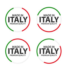 set of four italian icons made in italy premium vector image