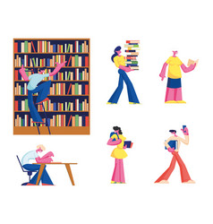set young and senior people reading in library vector image