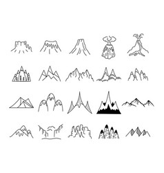 simple mountains icons shapes set logo vector image