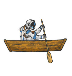 Spaceman boat sketch engraving vector