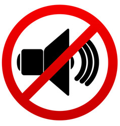 Speaker with probition sign silence mute vector