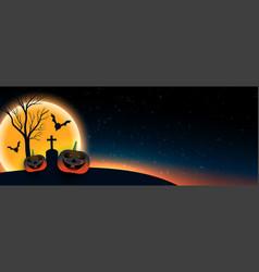 Spooky halloween scary night scene banner design vector