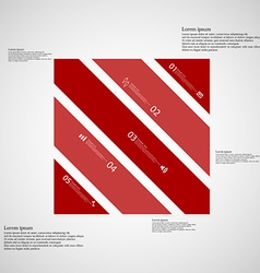 Square template consists of five red parts on vector