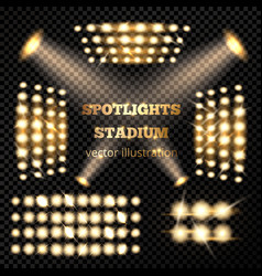 Stadium spotlights gold set vector