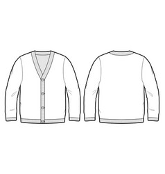 Tech sketch of a cardigan vector
