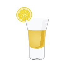 Tequila shot with lemon vector