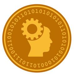 Thinking gear digital coin vector