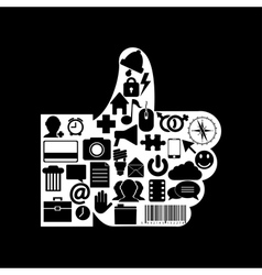 thumb up icon on black background Eps10 vector image