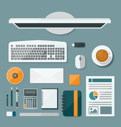Top view computer of desk background Flat design vector