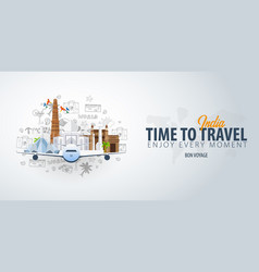 Travel to india time to travel banner with vector