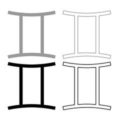 twin symbol icon outline set grey black color vector image
