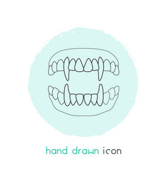 Vampire teeth icon line element vector