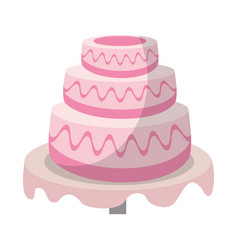 Wedding cake sweet food vector