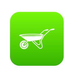 wheelbarrow icon green vector image