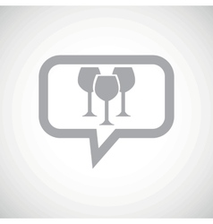 Wine glass grey message icon vector