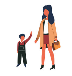 Woman and child mother and son family kid and girl vector