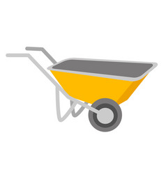 Yellow wheelbarrow cartoon vector